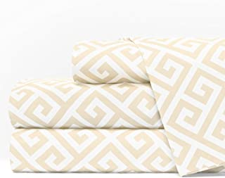 Egyptian Luxury 1600 Series Hotel Collection Greek Key Pattern Bed Sheet Set - Deep Pockets, Wrinkle and Fade Resistant, Hypoallergenic Sheet and Pillowcase Set - King - Cream/White