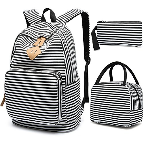 School Backpack for Girls, BLUBOON Canvas Bookbag College Laptop Rucksack Women Ladies Travel Daypack Lunch Box Bag Pencil Case (Black White Stripe)