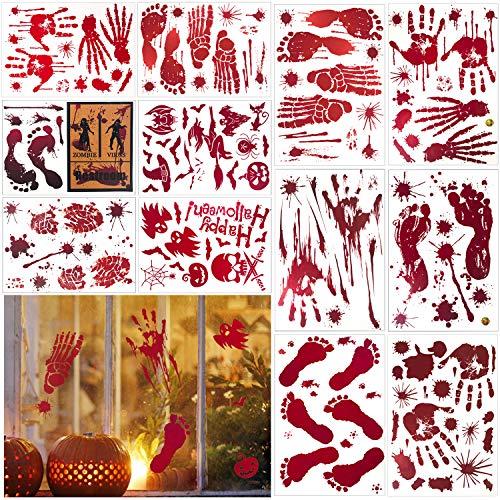 ECHOAN 12 Fogli Halloween Impronte di Mani insanguinate Adesivo, per Halloween Adesivi per Finestra e Vetrina Adesivi