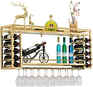 Casier à vin mural, Porte-bouteilles de vin en métal support verre à vin en acier inoxydable refroidisseur vin support de ...