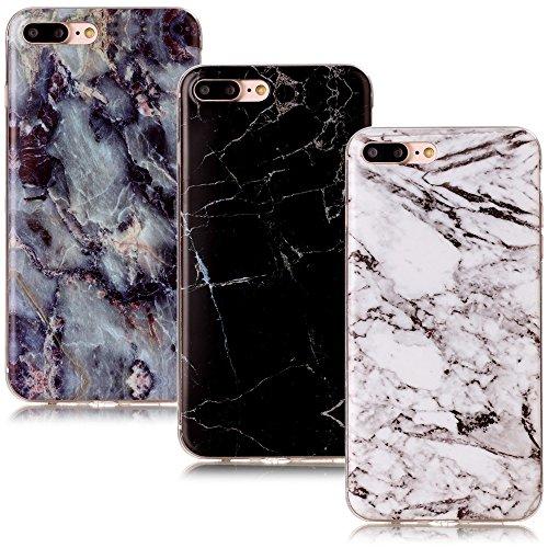 CLM-Tech 3in1 Accessoires Set: 3 x TPU Housse Silicone Gel pour Apple iPhone 7 Plus / 8 Plus Coque de Protection Cover Marbre Motif Noir Blanc coloré Case