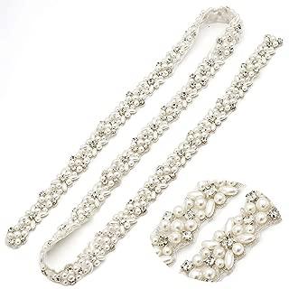 Yanstar Rhinestone Wedding Bridal Belt Sash with Ribbon for Prom Dress