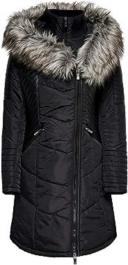 ONLY Onllinette Fur Hood Nylon Coat OTW Manteau Alternatif Long Femme
