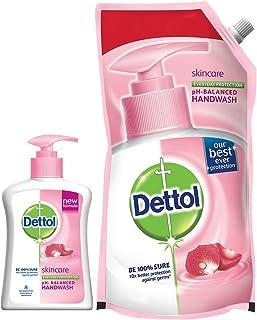 Dettol pH-Balanced Liquid Handwash Refill Pouch, Skincare- 750ml + Dettol pH-Balanced Liquid Handwash Pump, Skincare- 200ml