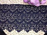 Ajuste de encaje de bordado con Patrón de Long style en 14cm de ancho Cortina, Manteles, Funda que se puede quitar, Ropa de bricolaje nupcial/Accesorios (4 yardas en un paquete) (azul marino)