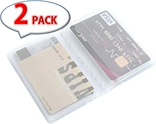 [Pack of 2] 10 Page 20 Card Plastic Wallet Insert for Bifold Business Credit Card Holds With Free Gift (RFID Blocking Sleeves)