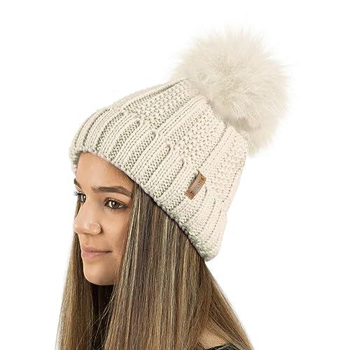 5e5f1ad124088 TOSKATOK Ladies Womens Winter Rib Seed Stitch Beanie Bobble Hat with Warm  Cosy Fleece Liner