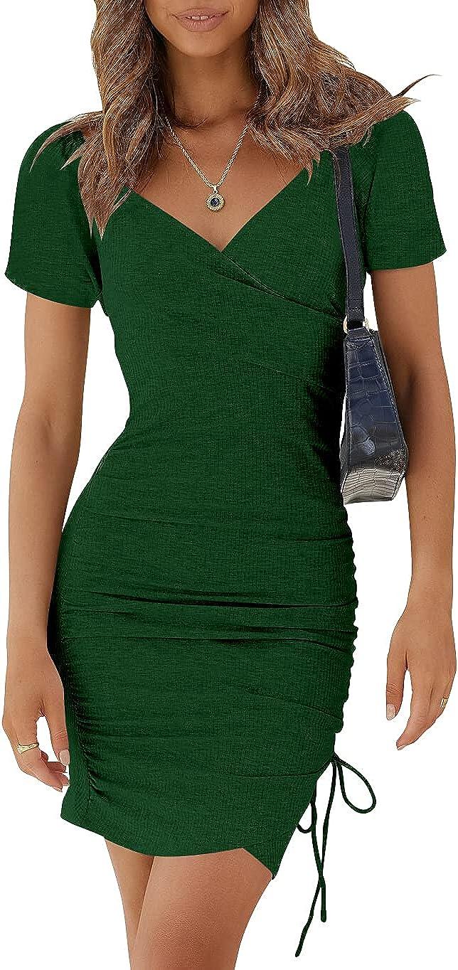 LOGENE Women's Summer Bodycon V Neck Short Sleeve Ruched Drawstring Mini Dress