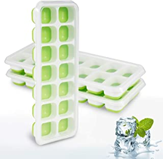 Ice Cube Trays, 3 Pack Silicone Easy-Release and Flexible Ice Trays with Spill-Resistant Removable Lid - BPA Free, Durable and Dishwasher Safe