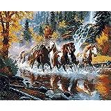 Pintar por Números Kits,Pintar por Numeros para Adultos Niños Manada de caballos corriendo en el río. DIY Conjunto Completo de Pinturas para el Hogar Decoraciones-Wooden_Frame_40x50cm E913