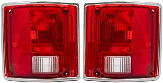 Driver and Passenger Taillights with Chrome Trim Replacement for 73-91 Pickup Truck SUV 5965771 5965772