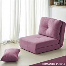 Floor chair, Individual Foldable meditation chair Adjustable Backrest Padded Lazy Lounge Sofa Chair with Thickened backrest for bedroom balcony, 6 colour (Color : Purple)
