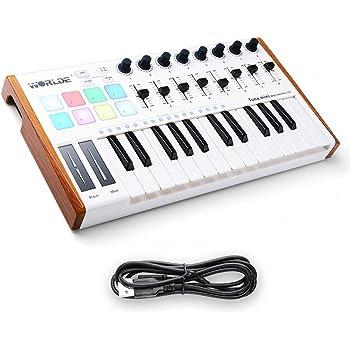 Worlde 25 Key USB Portable Tuna Mini MIDI Keyboard MIDI Controller with 8 Knobs, 8 Drum Pads, 8 Faders, Wood Imitation Rim, Pedal Interface, for Mac and PC