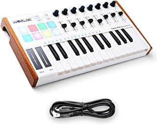 Worlde 25 Key USB Portable Tuna Mini MIDI Keyboard MIDI Controller with 8 Knobs, 8 Drum Pads, 8 Faders, Wood Imitation Rim, Pedal Interface, for Mac and PC