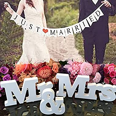 Buytra Wedding Decorations Set with Just Married Wedding Banner Mr & Mrs Signs Letters for Sweetheart Table