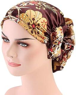 3ae36d17a818e4 DuoZan Women's Satin Flower Elastic Band Turban Beanie Head Wrap Chemo Cap  Hair Loss Hat