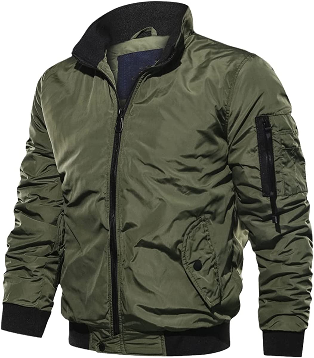 Military Jacket Men's Slim-Fit Bomber Jacket Winter Men's Jacket Casual Long-Sleeved Jacket