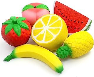 6PCS Jumbo Squishies Slow Rising Strawberry Peach Banana Lemon Watermelon Pineapple Charms Fruit Squishies Cream Scented S...