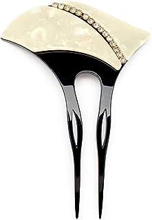 (ソウビエン) バチ型簪 白系 アイボリー 黒 ブラック 貝殻調 シェル調 斜め曲線 ラインストーン 二本足 かんざし ヘアアクセサリー フォーマル 日本製