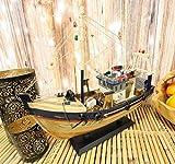 Ebros 17' Long Fisherman's Wharf Blue Wooden Handicraft Nautical Coastal Ocean Marine Trawler Fishing Vessel Boat Model Statue with Wood Base Stand Fully Assembled Figurine Sea Ship Prototype