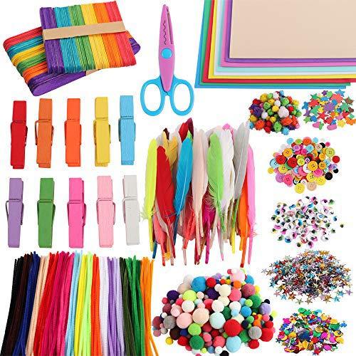 Bestenrose - Pompones de colores, 1000 unidades, autoadhesivos, ojos móviles y limpiador...
