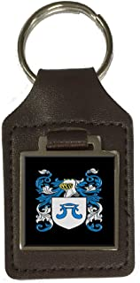 Knox Family Crest Surname Coat Of Arms Brown Leather Keyring Engraved