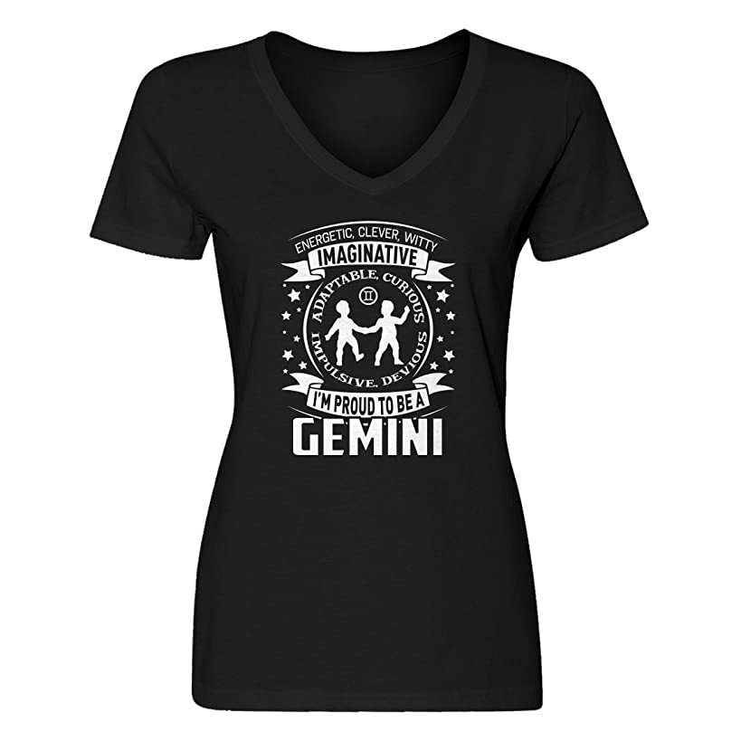Indica Plateau Womens Gemini Astrology Zodiac Sign Blank V-Neck T-Shirt