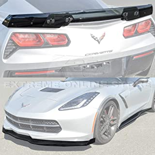 For 2014-2019 Corvette C7 | Z06 Stage 2 Style CARBON FIBER Front Bumper Lip Splitter Side End Caps With Side Skirts Rocker Panels & Stage 3 Painted Carbon Flash Rear Spoiler Light Tinted WickerBill