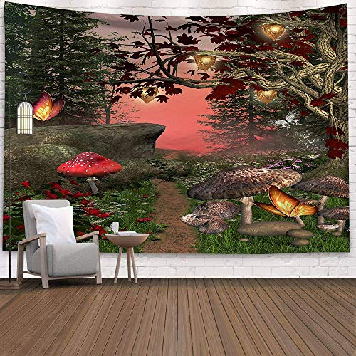 KHKJ Hippy Psychedelic Dreamlike Mushroom Tapestry Home Bedroom Abstract Fairy Tale Wall Hanging Tapestry Decor Beach Towel A22 200x180cm