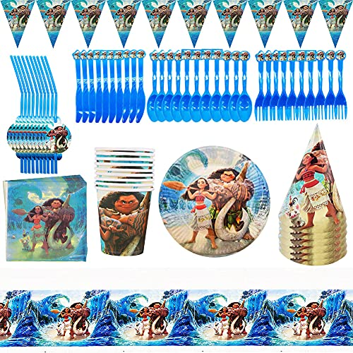 88 Piece Moana Party Supplies Decoration Set, Cute Tableware Kit Paper Plates Napkins Cups Straws Happy Birthday Decoration Colorful Party Chain Garland Banner Gift Theme Carnival