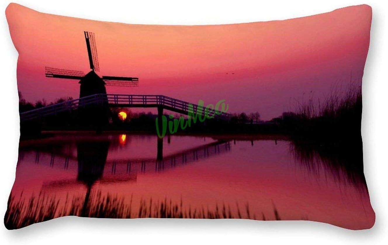 VinMea Decorative Lumbar Pillow OFFicial mail order Covers at Outdoor Cheap SALE Start Windmill Dusk