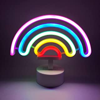 Neon Rainbow Light, DELFINO LED Cute Colorful Decoration Night Lights Indoor Wall Base Battery Powered for Kids Nursery Li...