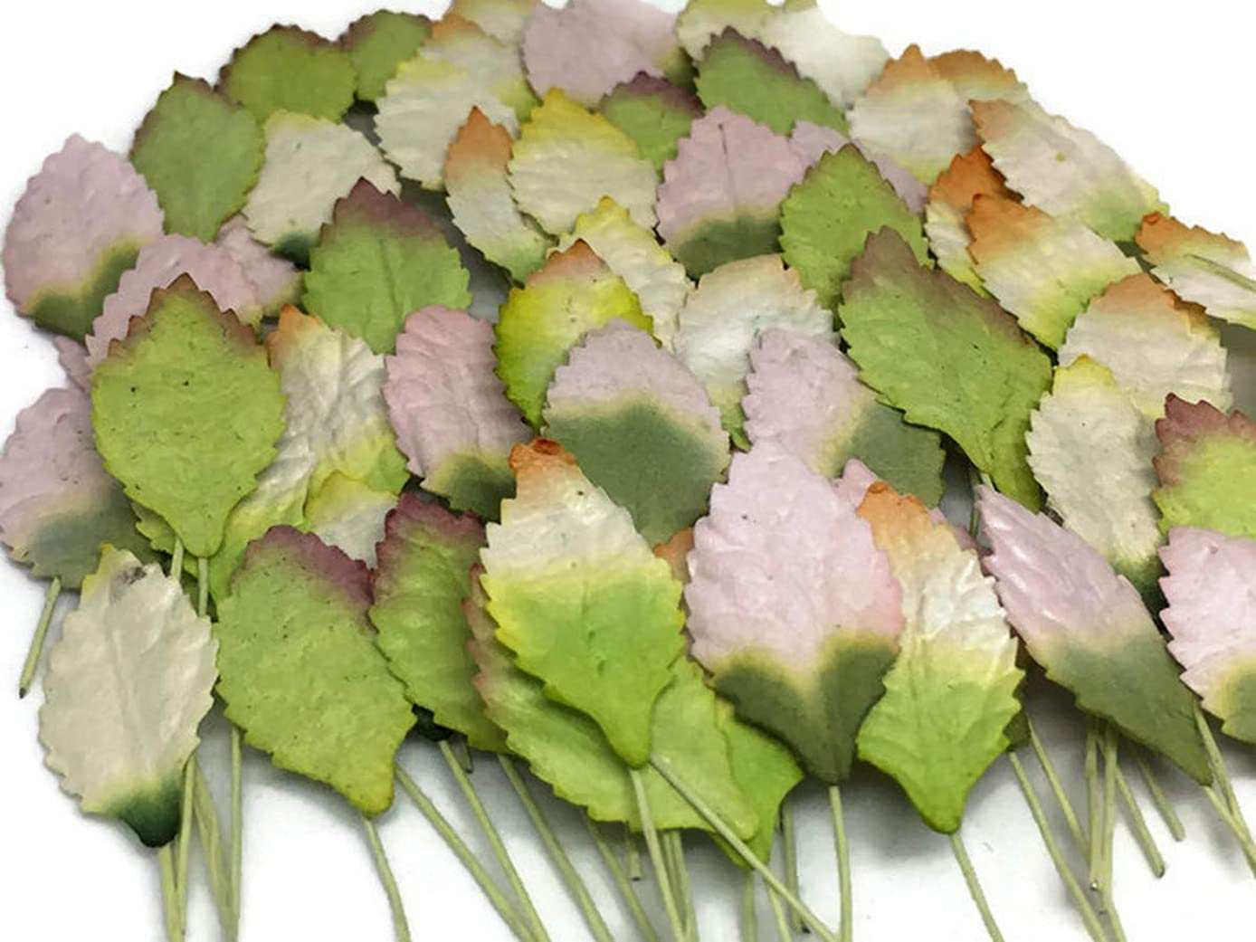 100 pc Mini Rose Leaf Mulberry Paper Mixed Color Tiny Leaves 15 mm Supplies Card Scrapbooking Embellishment Wedding Artificial Doll House DIY F011