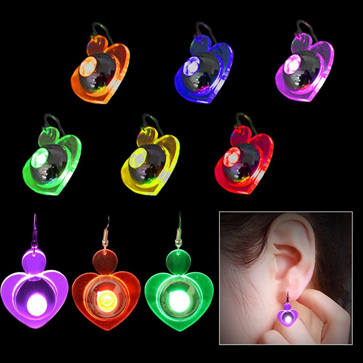 Toy Cubby Kids and Adult Flashing Heart LED Earrings - 4 Pairs / 4 Color
