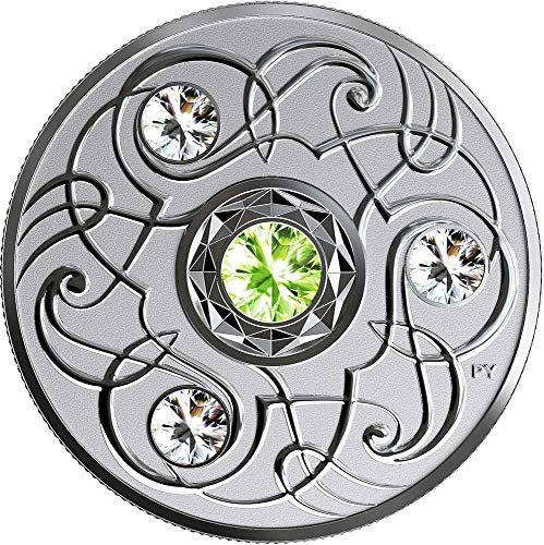 Power Coin August Agosto Birthstone Swarovski Crystal Moneda Plata 5$ Canada 2020