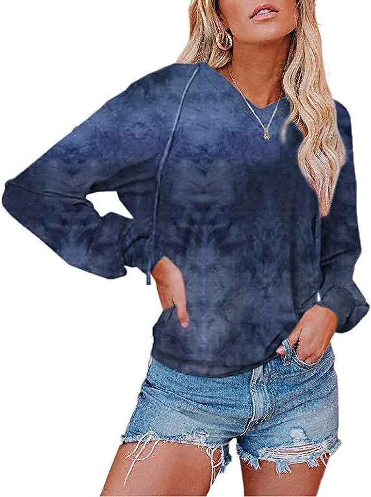 WooCo Women's Tie Dye Sweatshirts Pullovers Plus Size Long Sleeve Tops Loose Tunic Shirts Blouse Tops T Shirts