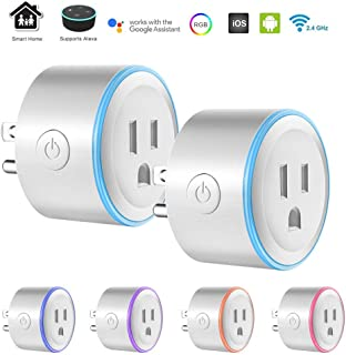 Smart Plug Mini with RGB LED Light, ALLOMN 4pcs Wi-Fi Wireless Socket Outlet with 8 Scene Modes, Compatible with Alexa, No Hub Required, Timer, Remote Control Your Devices from Anywhere