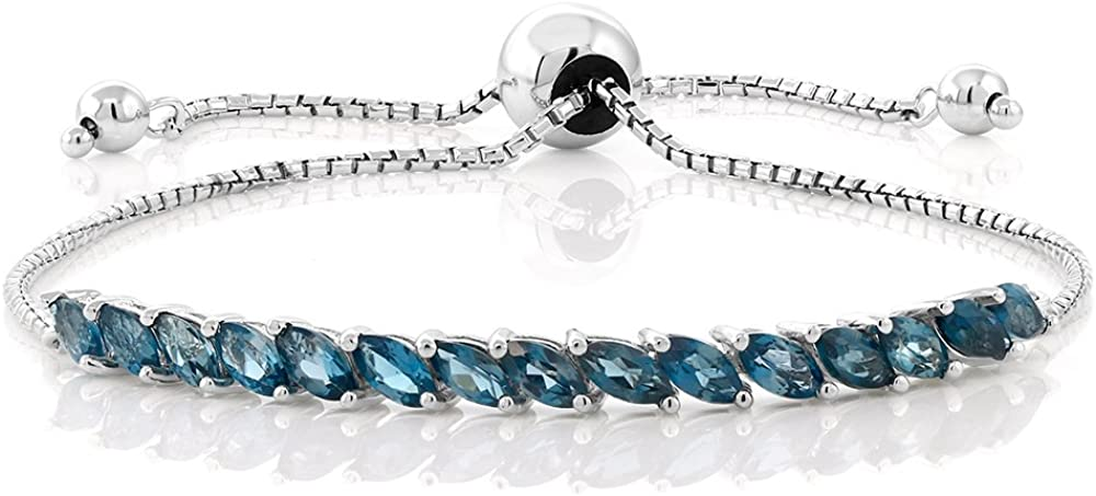 Gem Ranking TOP10 Stone King 925 Sterling Super intense SALE Silver Ten London Blue Topaz Women's