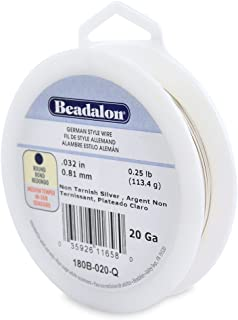 Beadalon 20-Gauge Tarnish Resistant Silver Plate Round Wire, 1/4-Pound