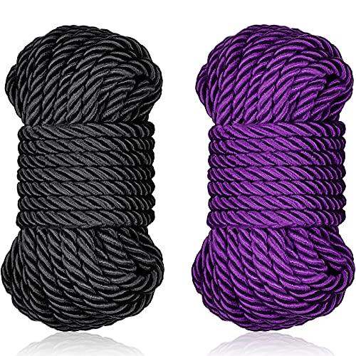 32 Feet Braided Twisted Silk Ropes 8mm Diameter Soft Solid Braided Twisted Ropes Decorative Twisted Satin Shiny Cord Rope for Most Purpose and DIY Craft (Black, Purple,2 Pieces)