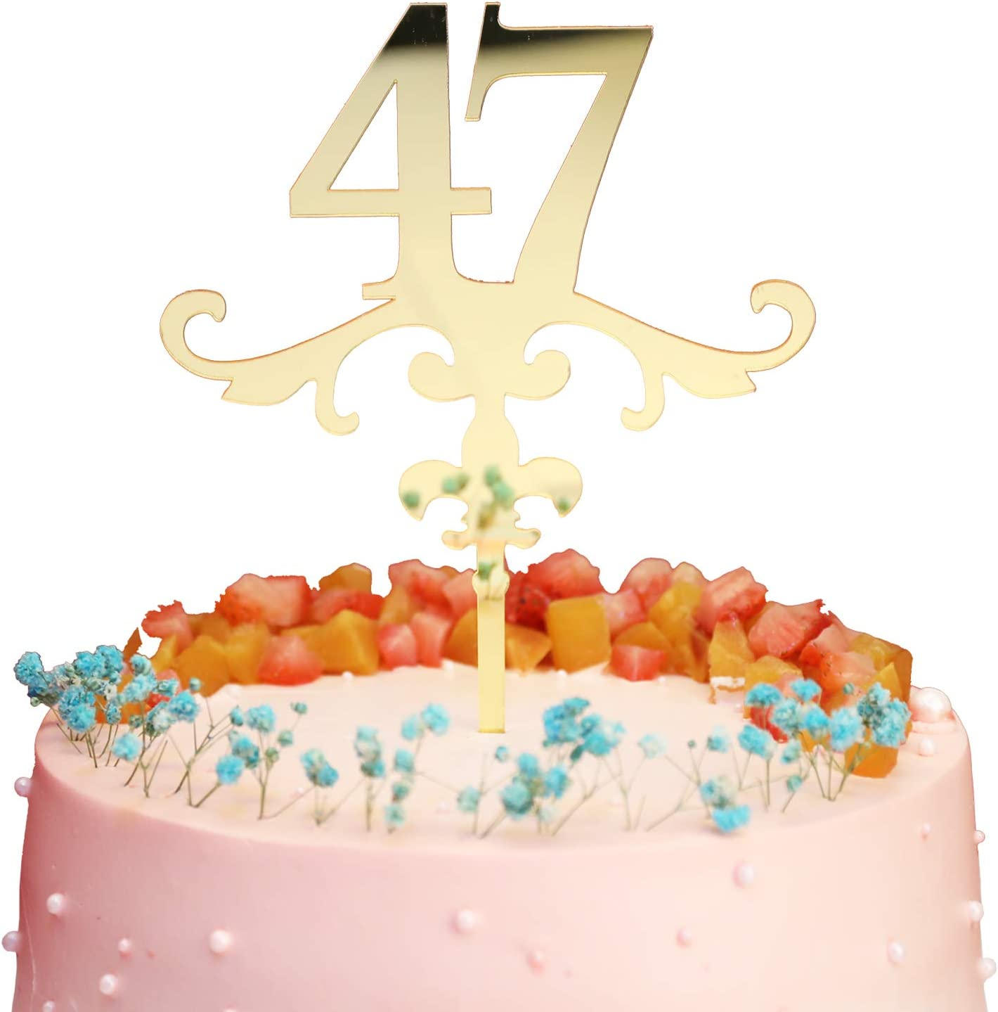 Mirror Gold Number 44 Cake Topper Acrylic Cake Topper Ideal for 44th Birthday or Anniversary Celebration