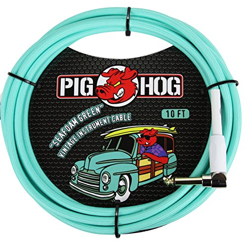 Pig Hog PCH10SGR 1/4' to 1/4' Right-Angle Seafoam Green Guitar Instrument Cable, 10 Feet
