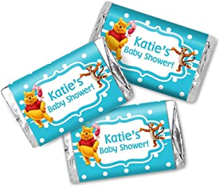 Winnie The Pooh Baby Shower Miniatures Chocolate Bar Wrapper Labels - 54 Total Candy Stickers