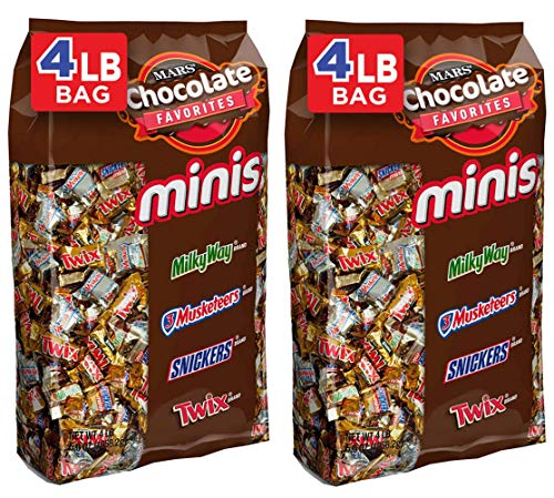 SNICKERS, TWIX, MILKY WAY & 3 MUSKETEERS Minis Size Chocolate Halloween Candy Bars Variety Mix, 67.2-Ounce 240-Piece Bag, 2 Pack
