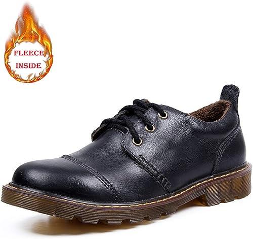 XHD-Chaussures Talon Bas Simple Chaussures de Cuir commerciales Frenulum rembourrées rembourrées de Coton pour Hommes du Moyen Age (Couleur   Cotton noir, Taille   43 EU)  grande remise