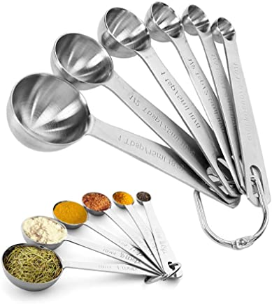 Measuring Spoons Set, iPstyle Heavy Duty Stainless Steel Metal Measuring Spoons for Dry or Liquid Ingredients, Fits in Spice Jar, Set of 6 (Stainless Steel)