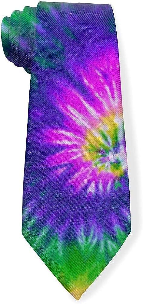Colorful Psychedelic Tie Dye Swirl Mens Classic Color Slim Tie, Men's Neckties, Fashion Boys Cravats