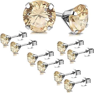 Tata Gisele - Set di 5 paia di orecchini in acciaio inossidabile e cristallo beige, 6 mm