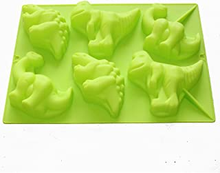 X-Haibei Large 6 Dinosaurs Chocolate Soap Candle Crayon Plaster Silicone Mold Kids Fun Maker