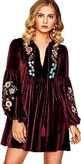 45b99b71e954 Aox Women's Vintage Floral Embroidered A line Velvet Short Party Dress Plus  Size